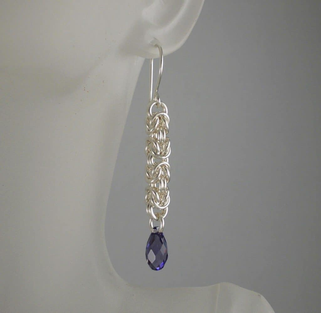 Byzantine Earring with Crystal Drop