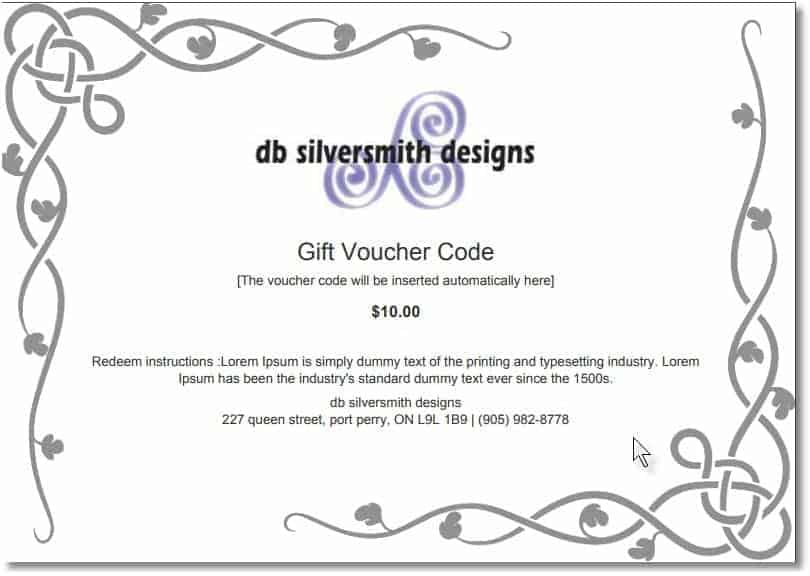 Gift certificate db silversmith designs undefined yadclub Images